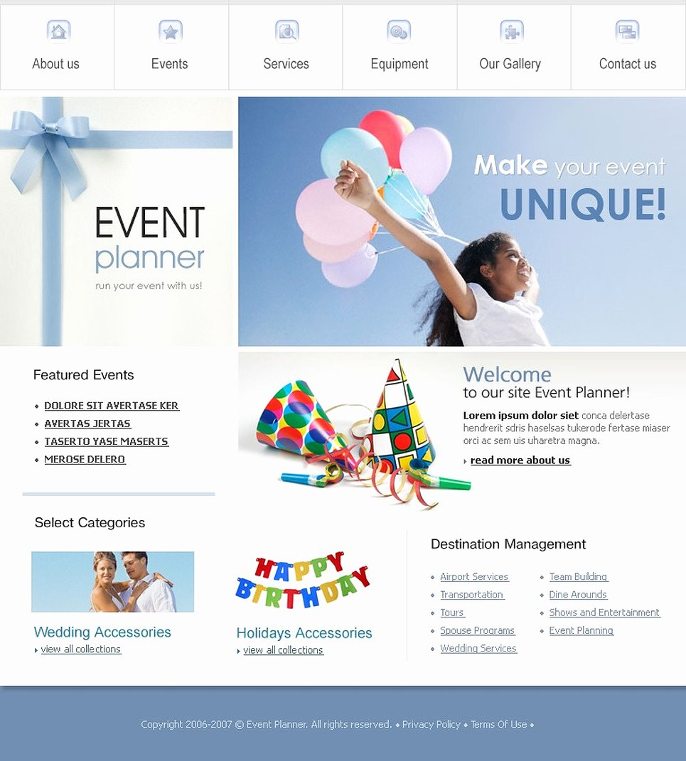 Wedding Planner Website Template Lovely event Planner Website Template
