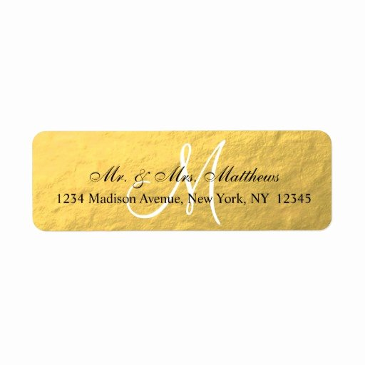 Wedding Return Address Label Templates Best Of Elegant Gold Black Monogram Wedding Return Address Label