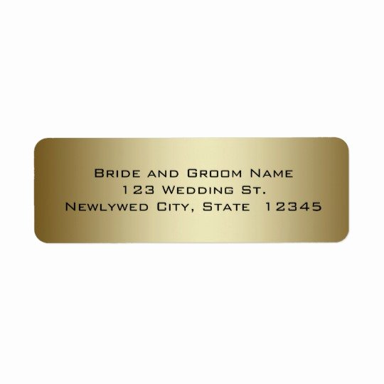 Wedding Return Address Label Templates Elegant Gold Wedding Return Address Labels