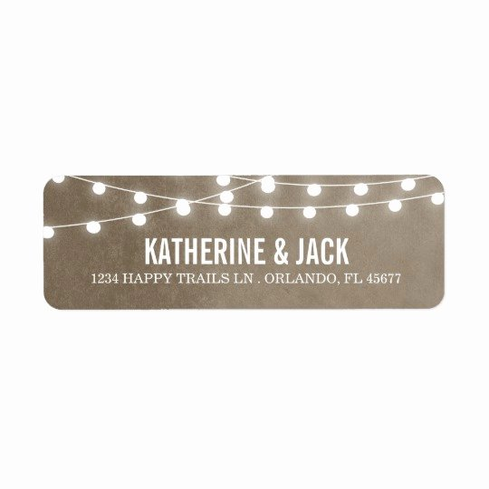 Wedding Return Address Label Templates Inspirational Summer String Lights Wedding Address Labels