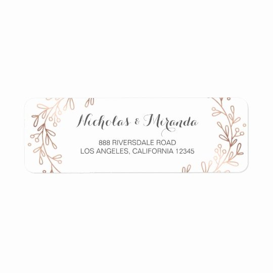 Wedding Return Address Label Templates Lovely Wedding Return Address Labels Laurel Rose Gold Label