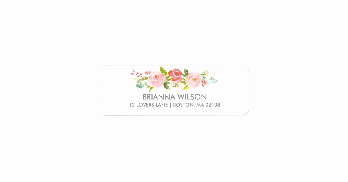 Wedding Return Address Label Templates New Rose Garden Floral White Return Address Label