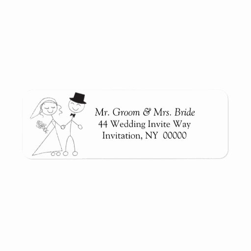 Wedding Return Address Labels Template New Cute Wedding Couple Return Address Label Stickers