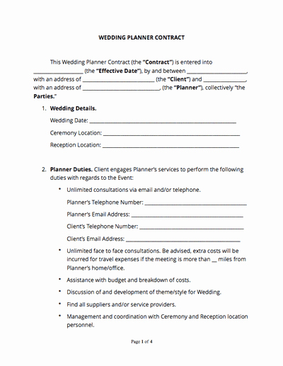 Wedding Vendor Contract Template Fresh Wedding Planner Contract Free Sample Docsketch