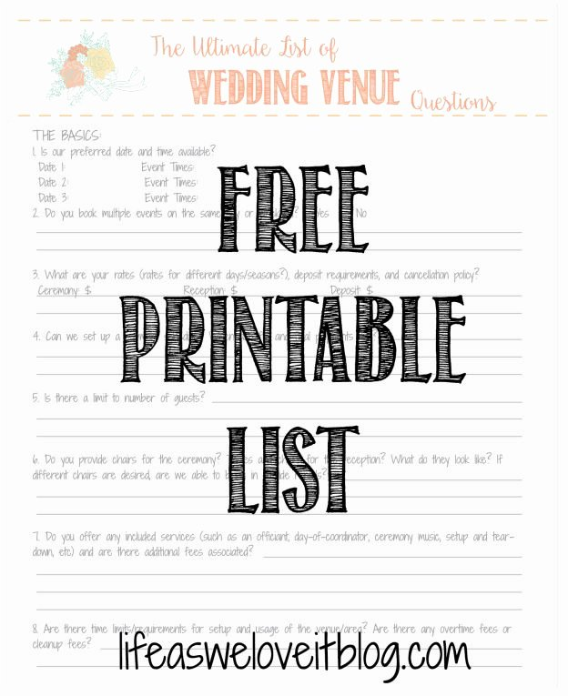 Wedding Venue Checklist Printable Awesome 7 Best Questions for Venues Images On Pinterest