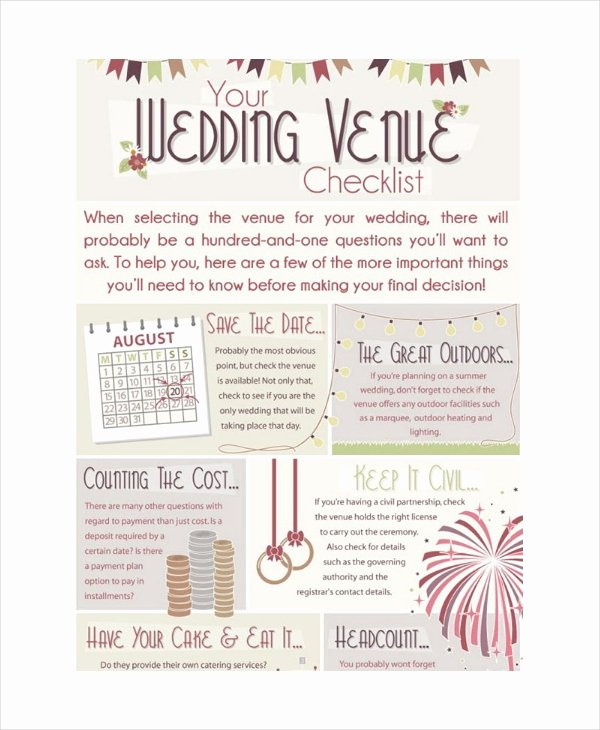Wedding Venue Checklist Printable Beautiful Wedding Planner Checklist 14 Free Word Pdf Psd Documents Download