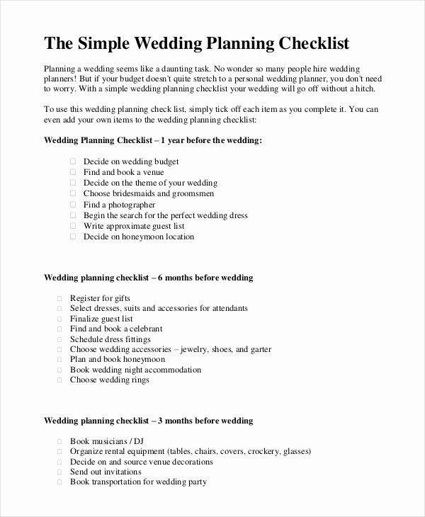 Wedding Venue Checklist Printable Best Of Simple Wedding Checklist 27 Free Word Pdf Documents Download