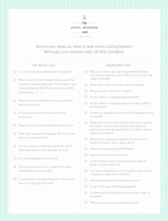 Wedding Venue Checklist Printable Elegant Mhw S top 10 Hints for Booking A Hotel for Your Wedding Creative Wedding Inspiration