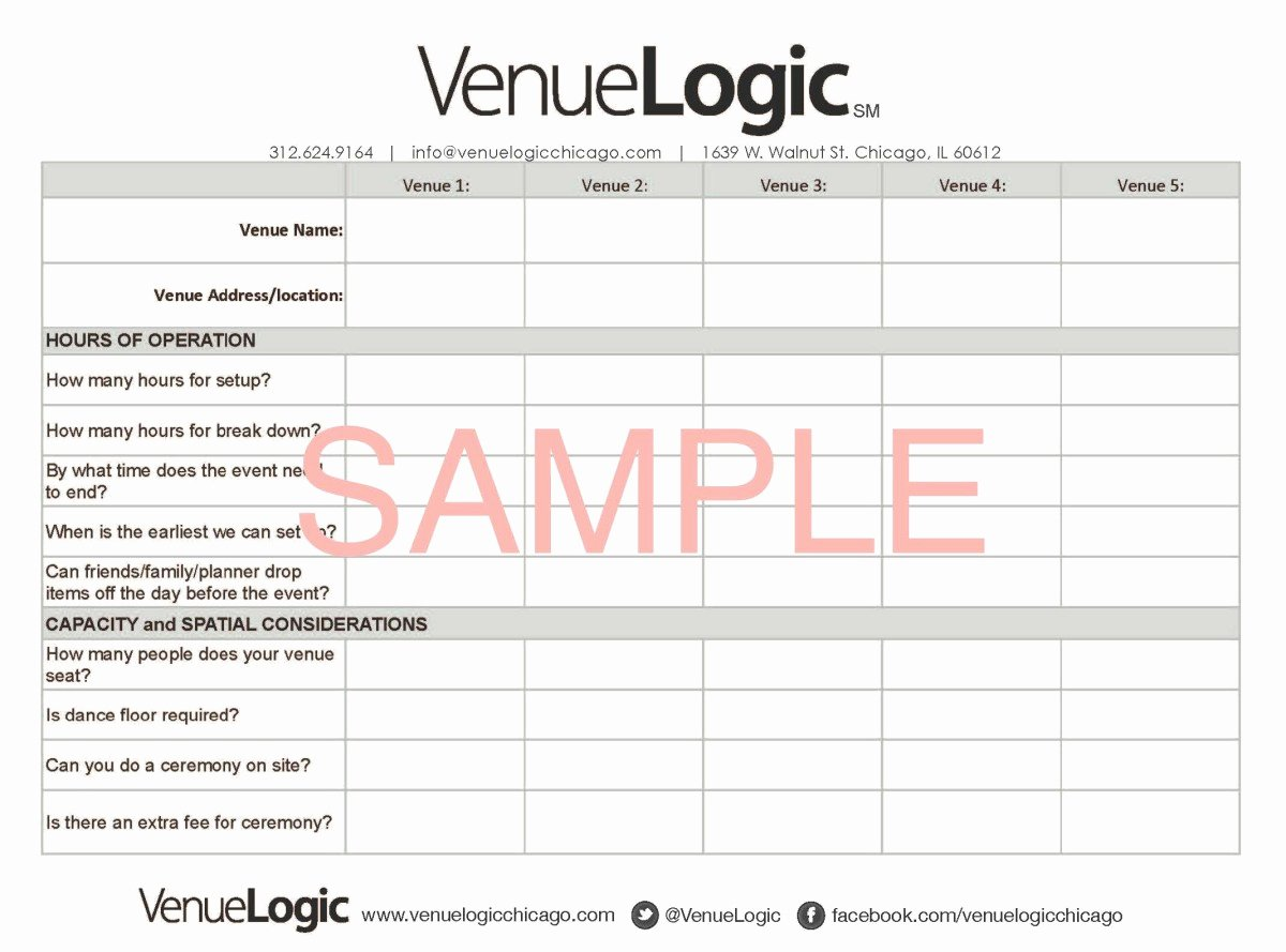 Wedding Venue Checklist Printable Fresh What Questions to ask at Your Venue Walkthrough Venue Logic Blog