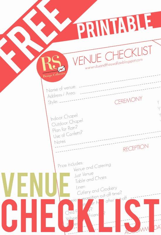 Wedding Venue Checklist Printable Lovely Ruby Swallow Free Printable Wedding Venue Checklist