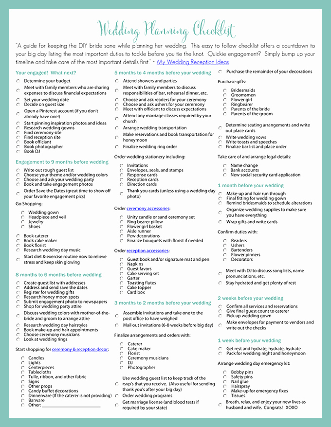 Wedding Venue Checklist Printable Luxury Printable Wedding Planning Checklist for Diy Brides