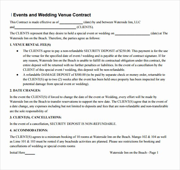 Wedding Venue Contract Sample Awesome Sample Vendor Contract Template 13 Free Samples Examples format