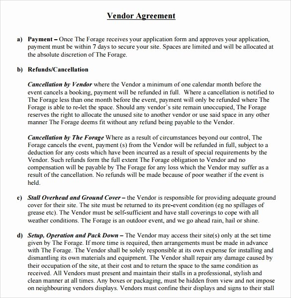 Wedding Venue Contract Sample Unique Sample Vendor Contract Template 13 Free Samples Examples format