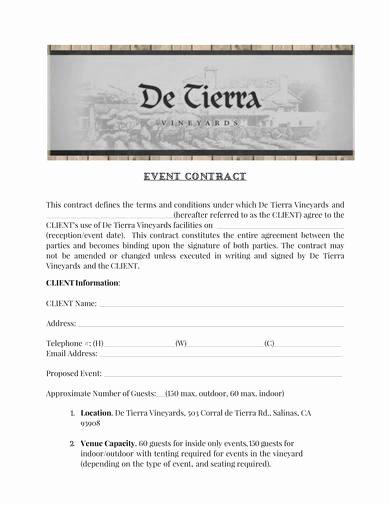 Wedding Venue Contract Template Beautiful 9 event Venue Contract Samples Pdf