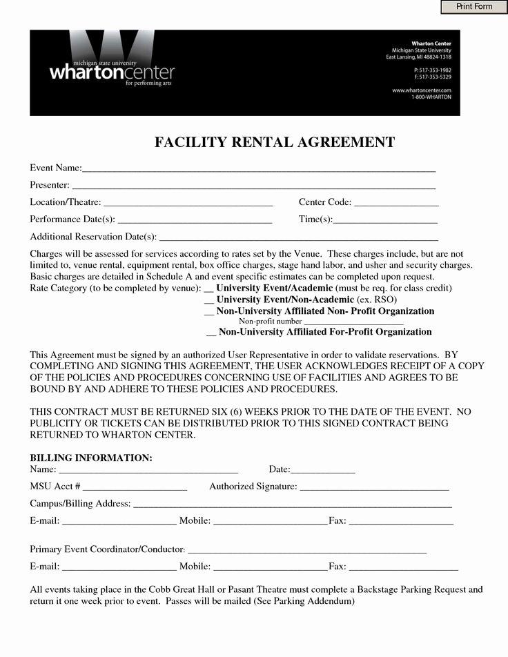 Wedding Venue Contract Template Elegant event Contract Template Invitation Templates Facility Rental Agreement form