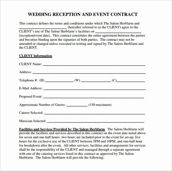 Wedding Venue Contract Template Elegant Wedding Contract Template 24 Download Free Documents In Pdf Word Psd