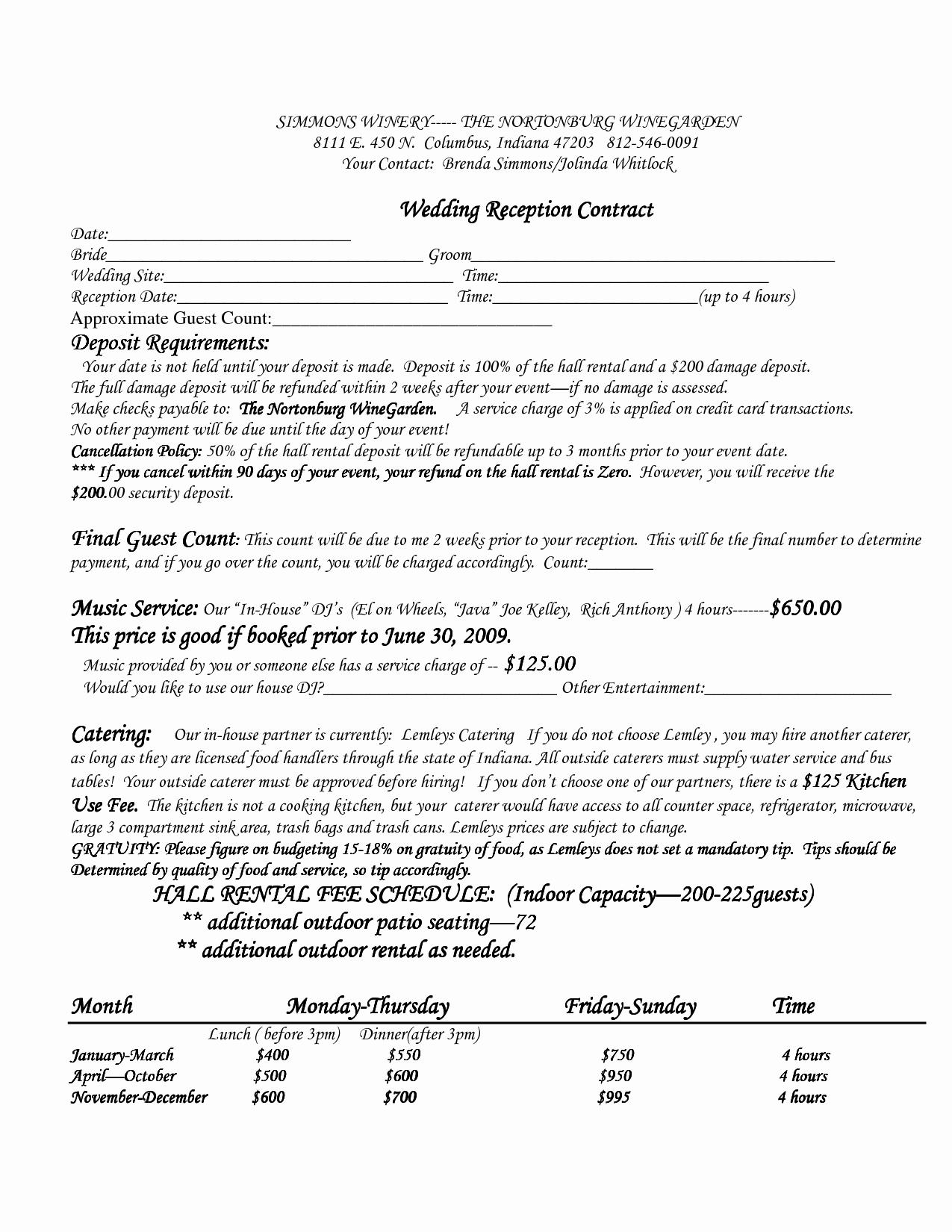 Wedding Venue Contract Template Inspirational Wedding Venue Contract Template – Emmamcintyrephotography