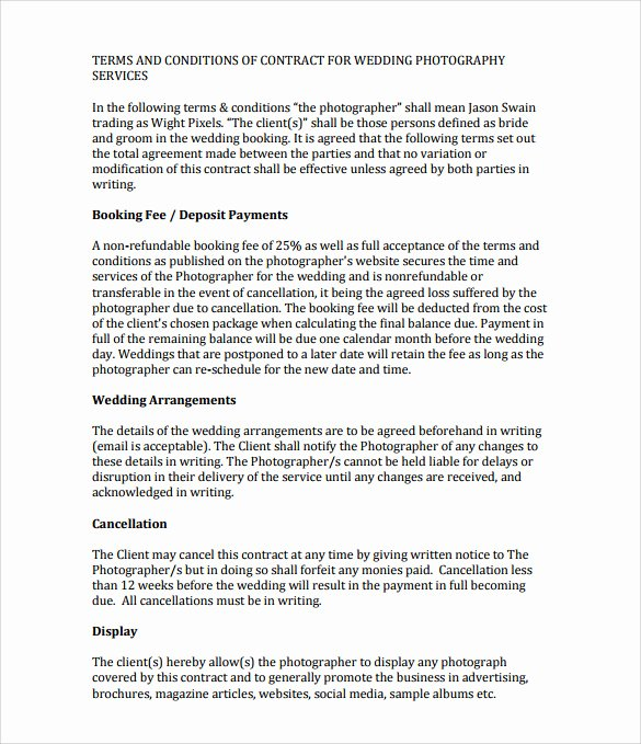 Wedding Venue Contract Template Lovely Sample Wedding Contract 25 Documents In Pdf Word