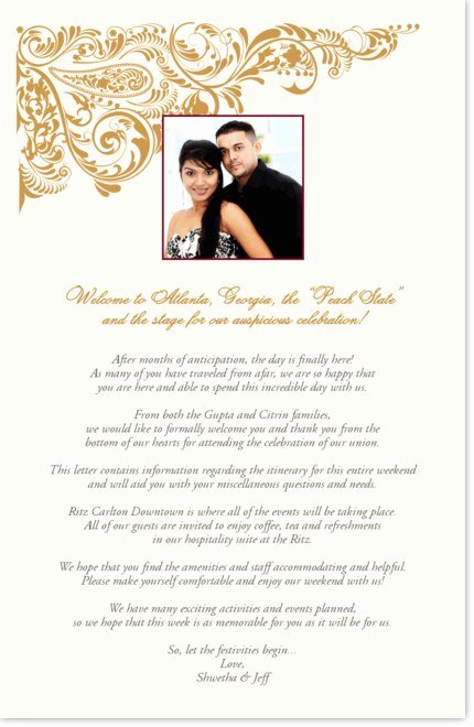 Wedding Welcome Letter Template Beautiful Indian Wedding Wel E Letter