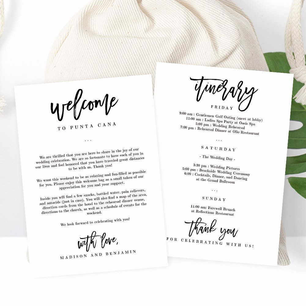 Wedding Welcome Letter Template Beautiful Wedding Wel E and Itinerary Card Brushed Charm Bcc Berry Berry Sweet