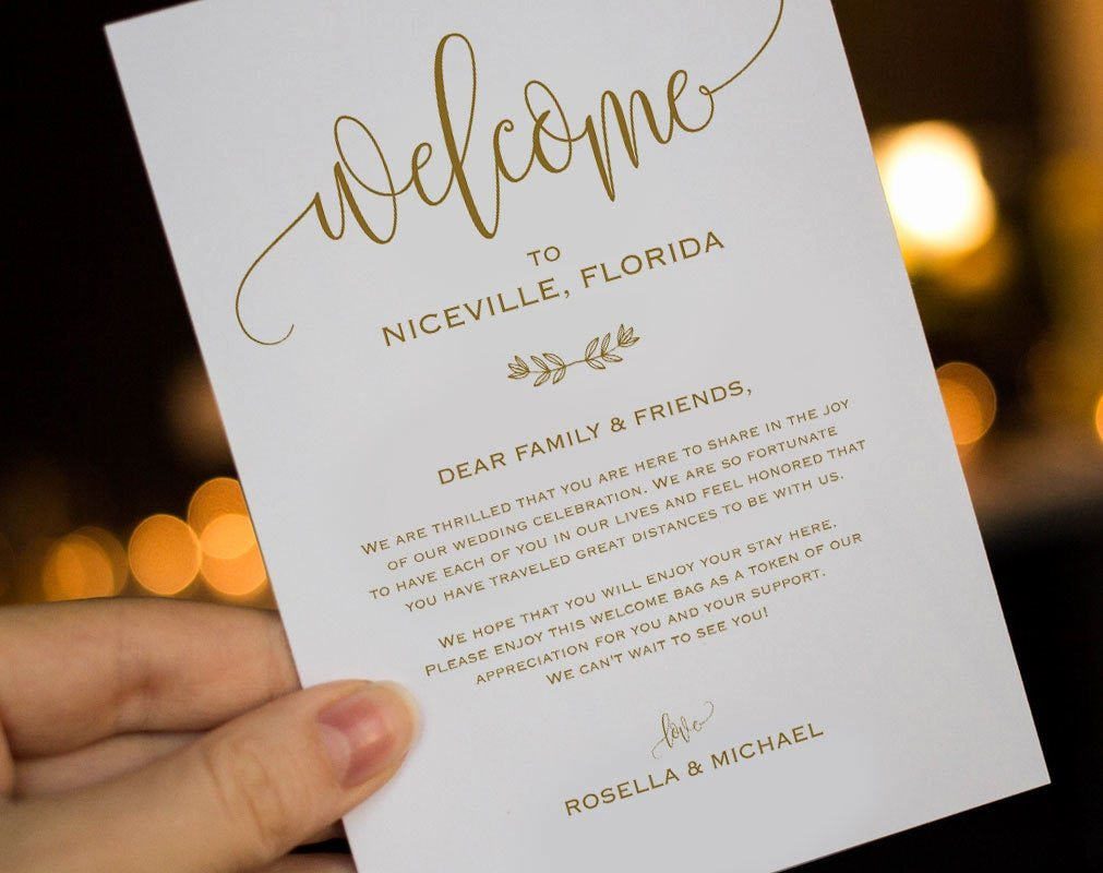 Wedding Welcome Letter Template Lovely Gold Wedding Wel E Bag Note Wel E Bag Letter Wedding
