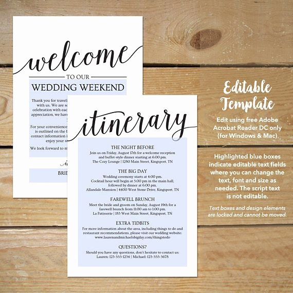 Wedding Welcome Letter Template Unique Wedding Itinerary Template Printable Wedding Wel E Letter Wel E Bag Note for Wedding In