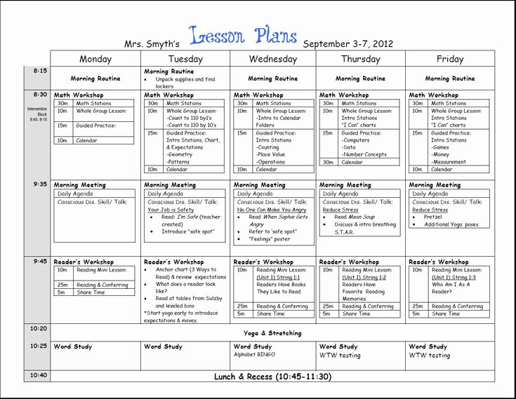 Weekly Lesson Plan Template Doc Elegant First Week Lesson Plans First Grade Beginning Of Year Pinterest