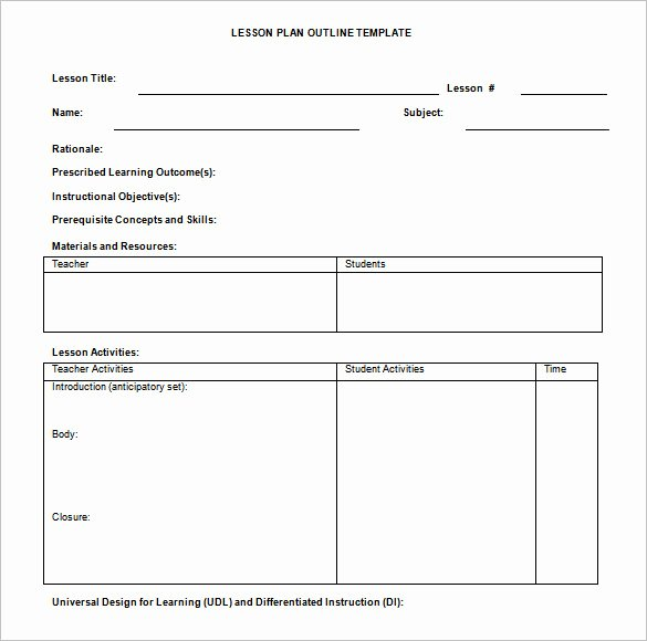 Weekly Lesson Plan Template Doc Unique Lesson Plan Outline Template 10 Free Free Word Pdf format Download
