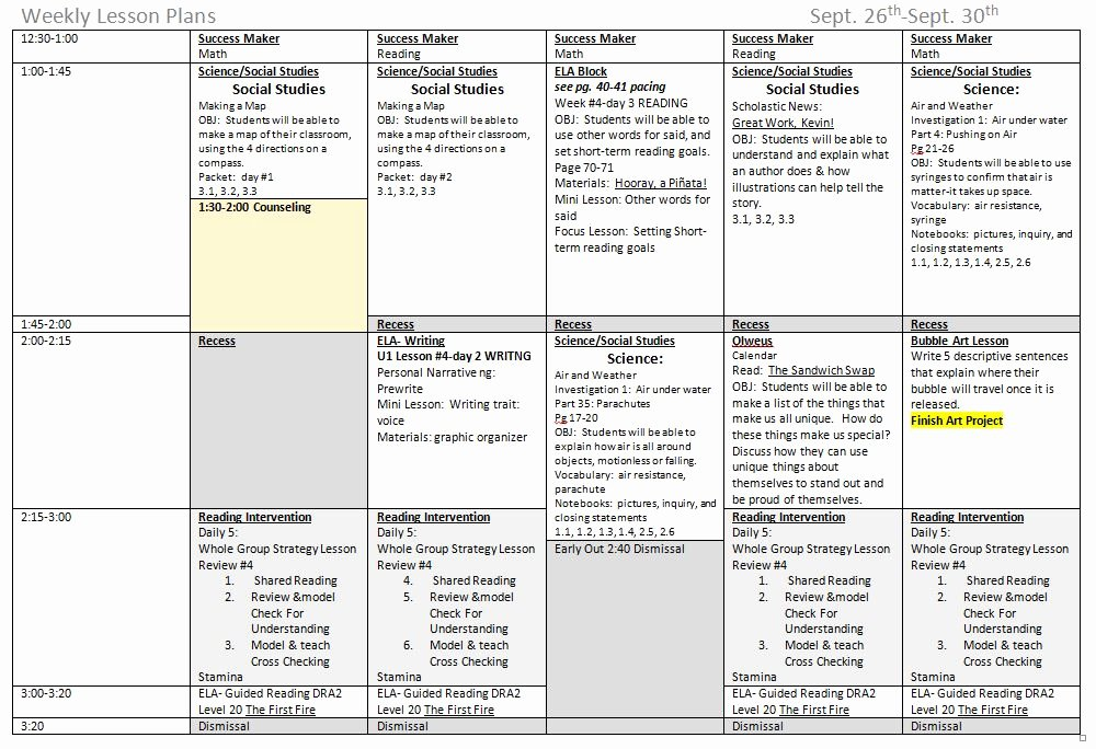 5 ponents great weekly lesson plan