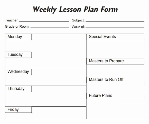 Weekly Lesson Plan Template Elementary Luxury Weekly Lesson Plan 8 Free Download for Word Excel Pdf