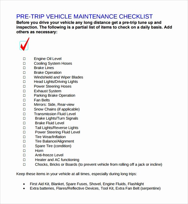Weekly Vehicle Maintenance Checklist Awesome 26 Maintenance Checklist Templates Pdf Word Pages Portable Documents
