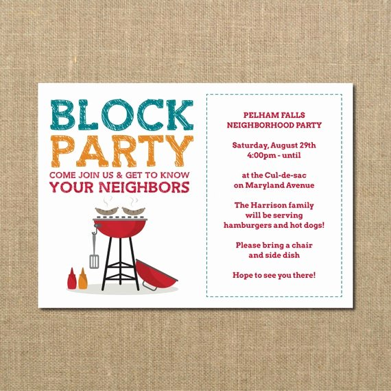Welcome to the Neighborhood Letter Beautiful Neighborhood Block Party Cookout Invitation Grilling Out