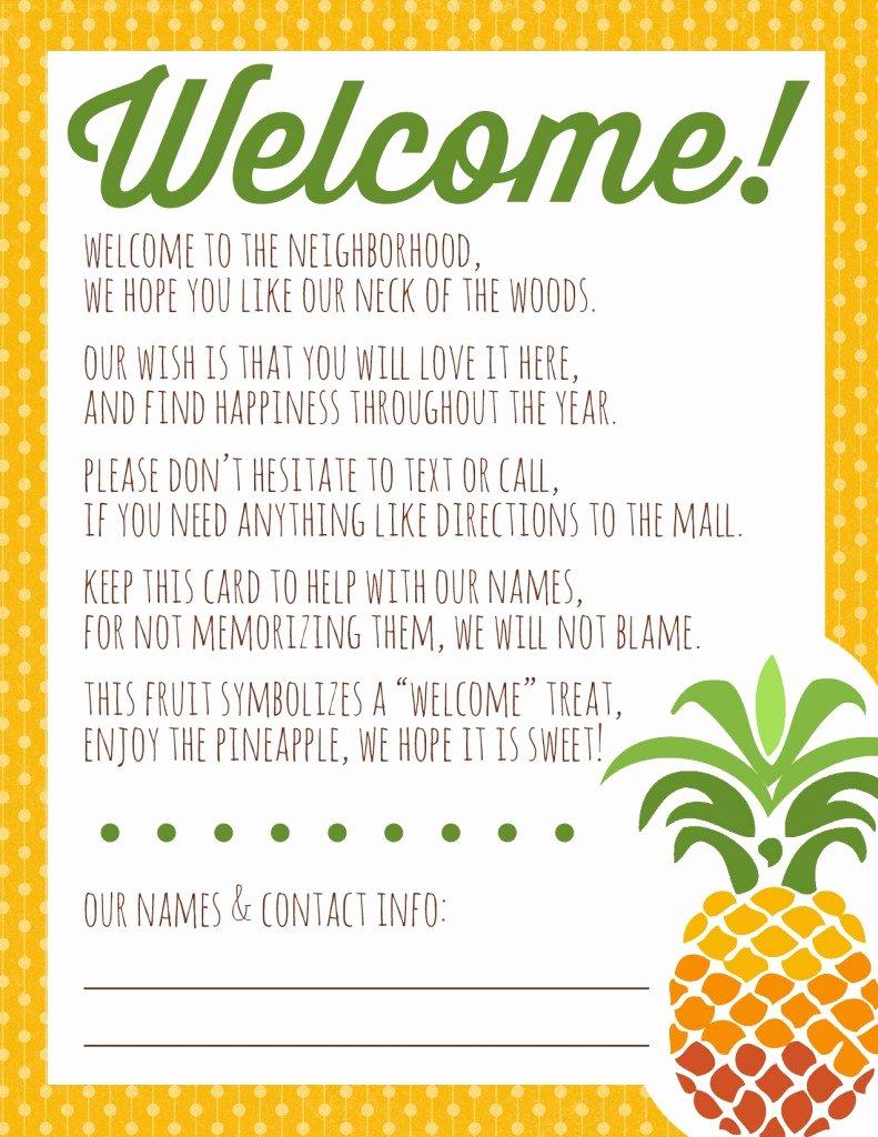 Welcome to the Neighborhood Letter Elegant Wel E to the Neighborhood Pineapple Gift Printable