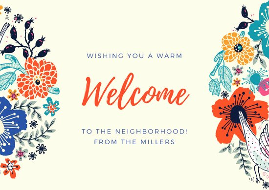 Welcome to the Neighborhood Letter Lovely Customize 50 Wel E Card Templates Online Canva