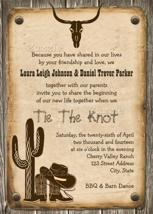 Western theme Wedding Invitations Awesome Free Western Invitation Templates