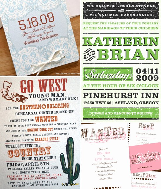 Western theme Wedding Invitations Awesome Western themed Wedding Invitations