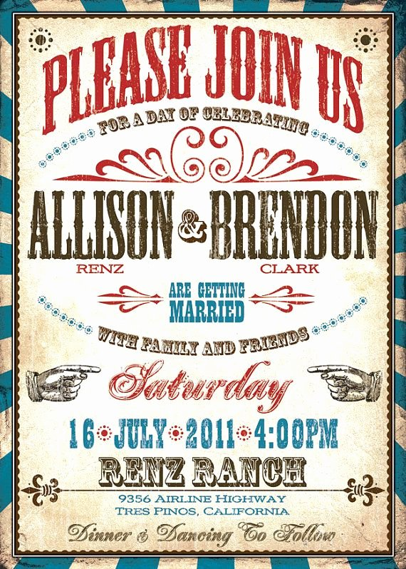 Western theme Wedding Invitations Best Of Vintage Western Wedding Invitation Set Vaudeville Wedding