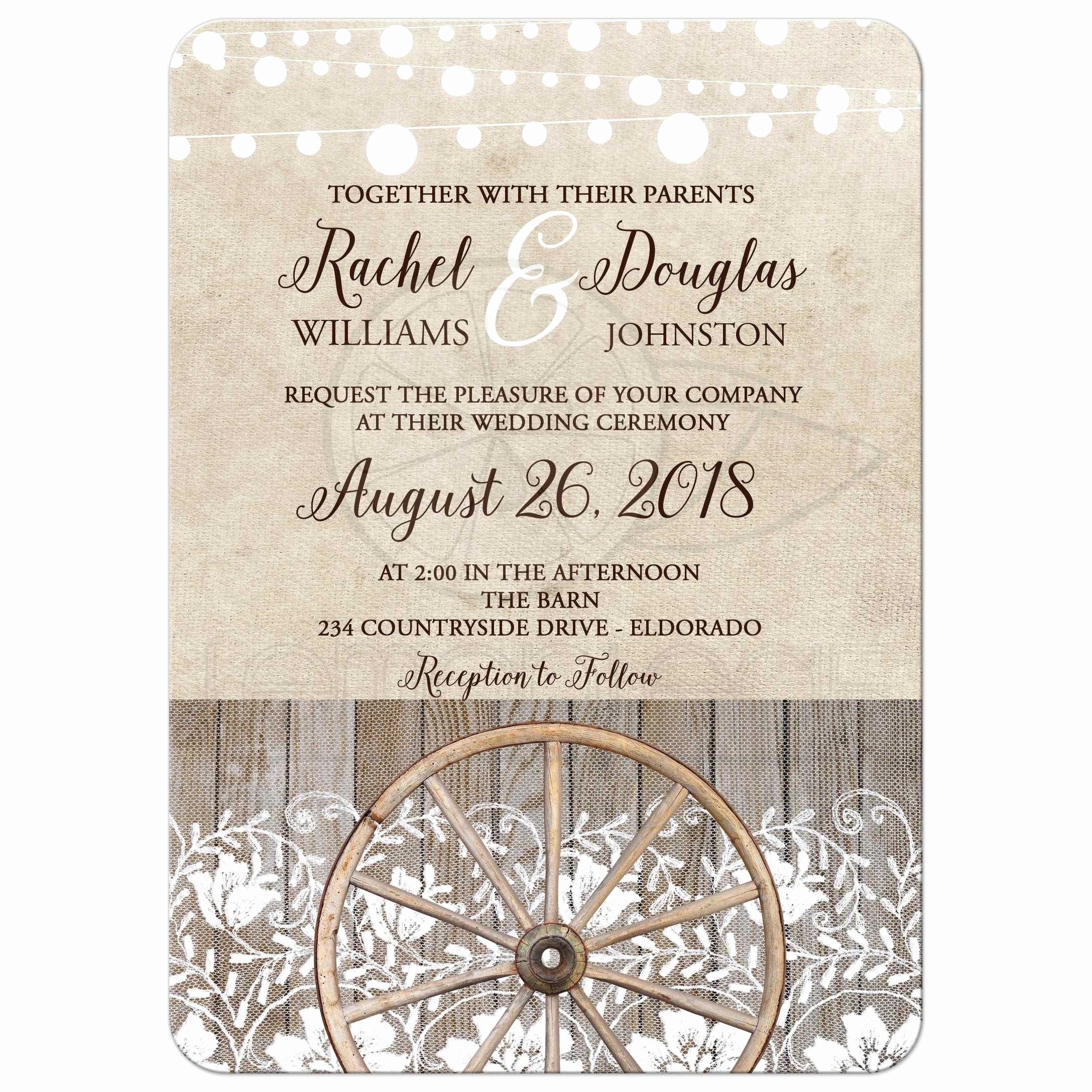 Western theme Wedding Invitations Fresh Country Wheel and Lace Western Barn theme Wedding Invitation