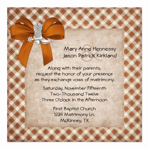 Western theme Wedding Invitations Lovely Rust & Tan Rustic Western theme Wedding Invitation 5 25
