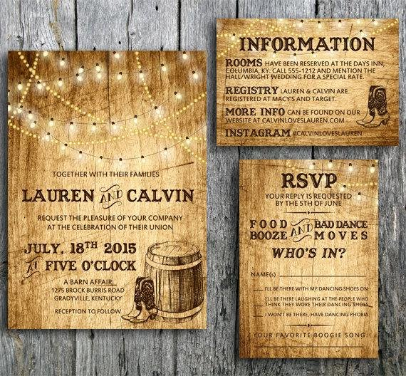 Western theme Wedding Invitations New Country Wedding Invitation Suite with Lights and by