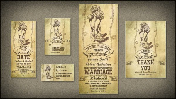 Western theme Wedding Invitations New Vintage Wedding