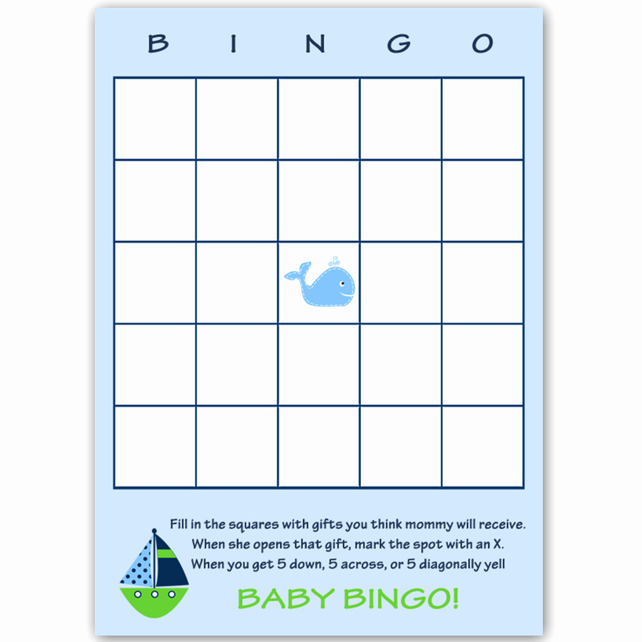 Whale Baby Shower Free Printables Awesome Ahoy It S A Boy Whale Green Bingo Card – the Invite Lady