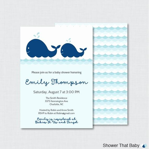 Whale Baby Shower Free Printables Awesome Whale Baby Shower Invitation Printable or Printed Nautical