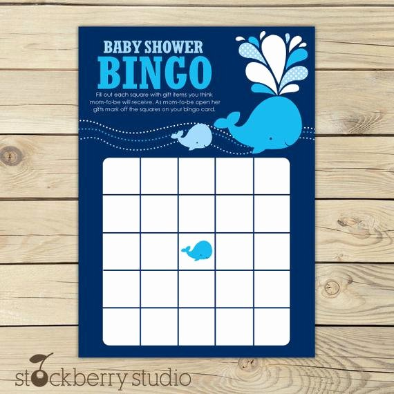 Whale Baby Shower Free Printables Elegant Whale Baby Shower Bingo Game Printable Navy Blue Baby Shower