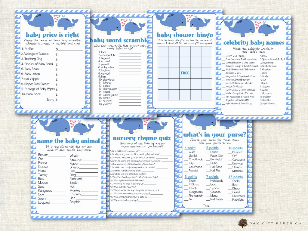 Whale Baby Shower Free Printables Elegant Whale Baby Shower Games Baby Shower Games Whale Shower
