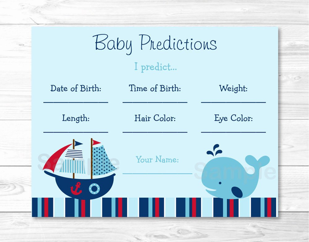 Whale Baby Shower Free Printables Inspirational Nautical Pirate Whale Baby Shower Baby Predictions Game