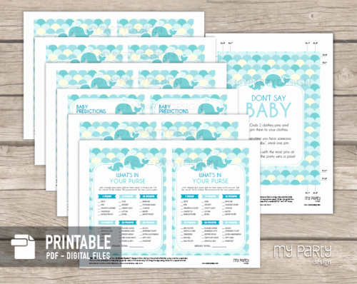 Whale Baby Shower Free Printables Luxury Whale Baby Shower Turquoise Printable Baby Shower Games