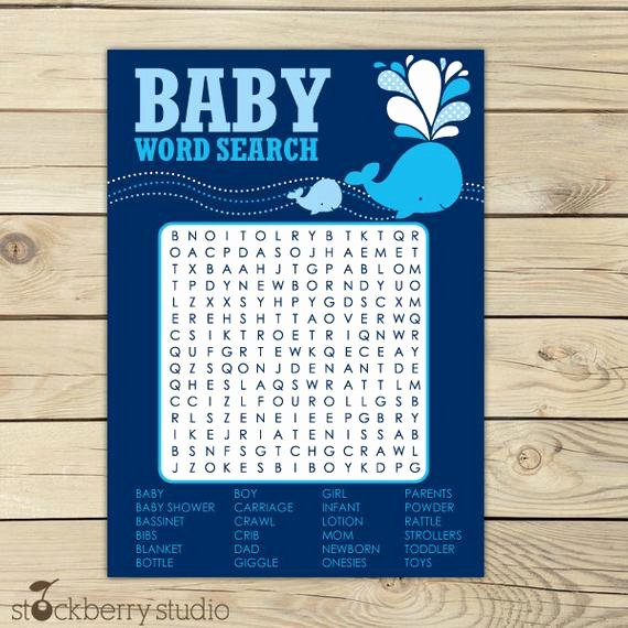 Whale Baby Shower Free Printables New Whale Baby Shower Word Search Game Printable by