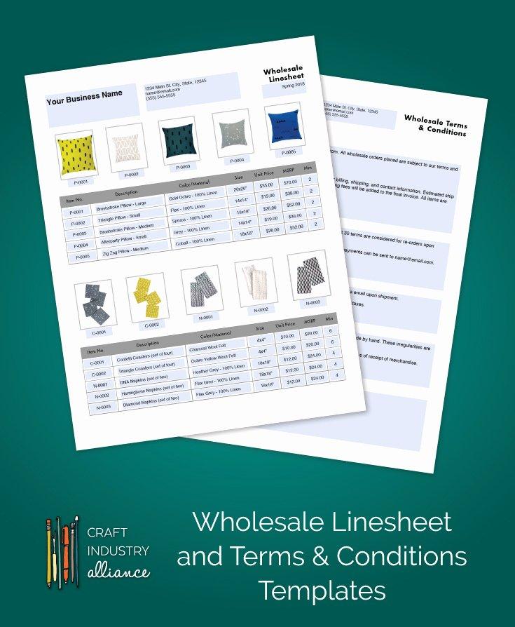 Wholesale Line Sheet Template Elegant wholesale Linesheet and Terms & Conditions Templates Craft Industry Alliance