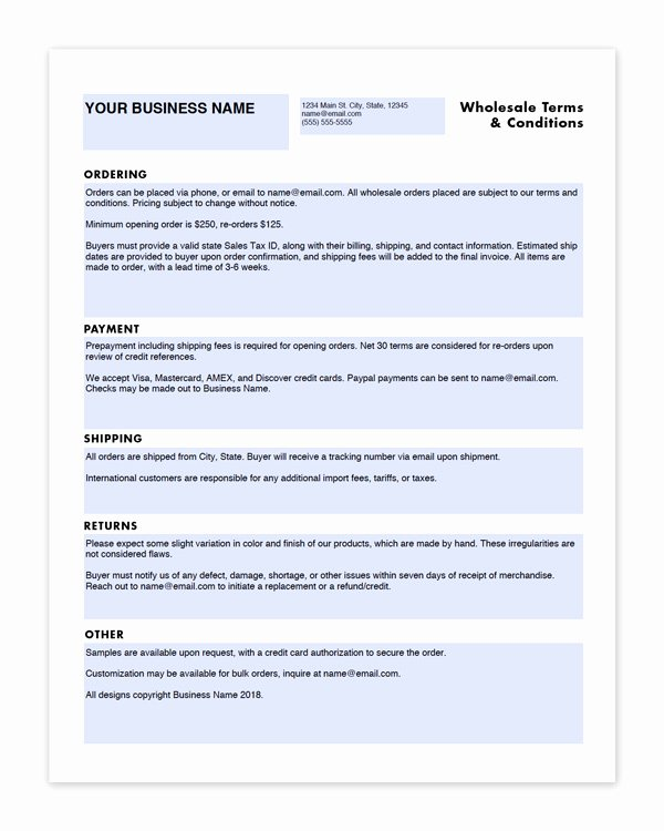 Wholesale Line Sheet Template Lovely wholesale Linesheet and Terms & Conditions Templates Craft Industry Alliance